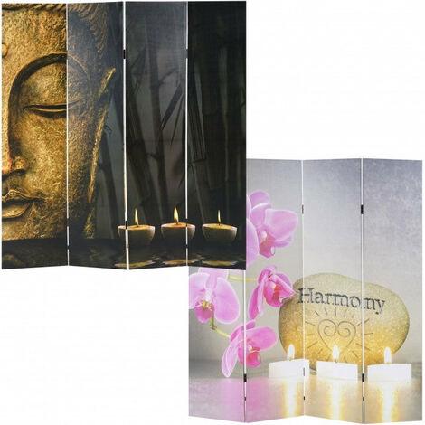 Paravent 4 panneaux pans recto bouddha verso harmony 180x160 cm - noir