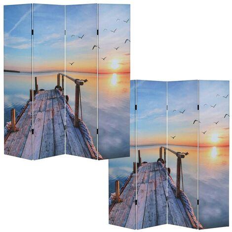 Paravent 4 panneaux pans séparateur de pièce 180x160cm motif coucher du soleil - noir