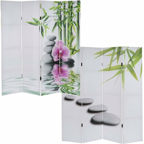 Paravent 4 panneaux pans séparateur de pièce 180x160cm motif orchidee - or