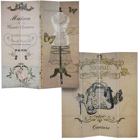 """main image of """"Paravent 4 panneaux pans séparateur de pièce 180x160cm motif vintage couture - noir"""""""