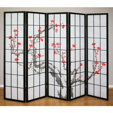 Paravent 5 panneaux japonais en bois noir 220x175cm - noir