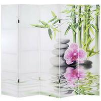 Paravent 5 panneaux pans séparateur de pièce 180x200cm motif orchidee