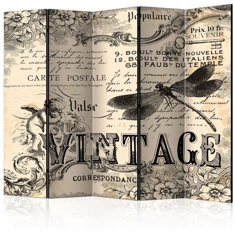 """main image of """"Paravent 5 volets - Vintage Correspondence II [Room Dividers] 225x172"""""""