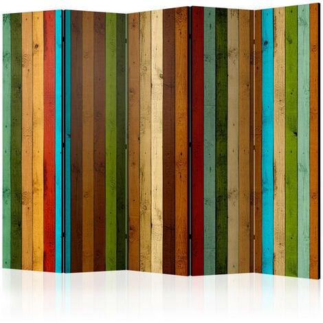 Paravent 5 volets - Wooden rainbow II [Room Dividers] 225x172
