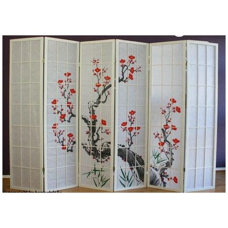 Paravent 6 panneaux japonais en bois blanc 264x175 cm