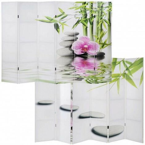 Paravent 6 panneaux pans séparateur de pièce 180x240cm motif orchidee