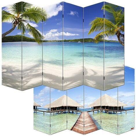 Paravent 6 panneaux pans séparateur de pièce 180x240cm motif plage
