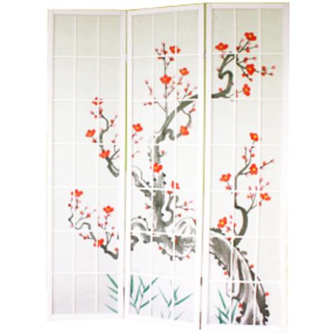 Paravent bois blanc avec fleurs de cerisier - 3 pans