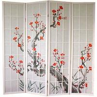 Paravent bois blanc avec fleurs de cerisier - 4 pans