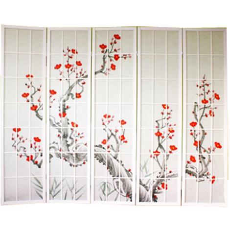 Paravent bois blanc avec fleurs de cerisier - 5 pans