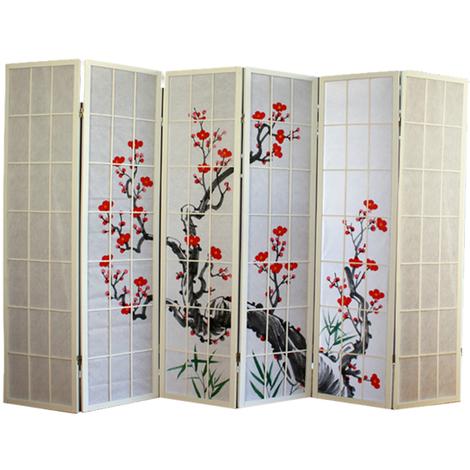 Paravent bois blanc avec fleurs de cerisier - 6 pans