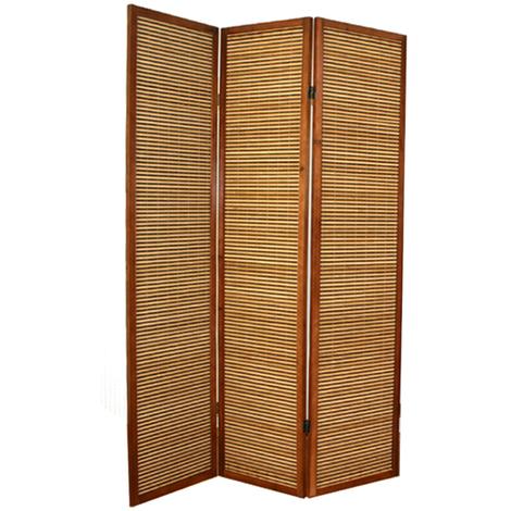 Paravent bois et bambou brun - 3 pans