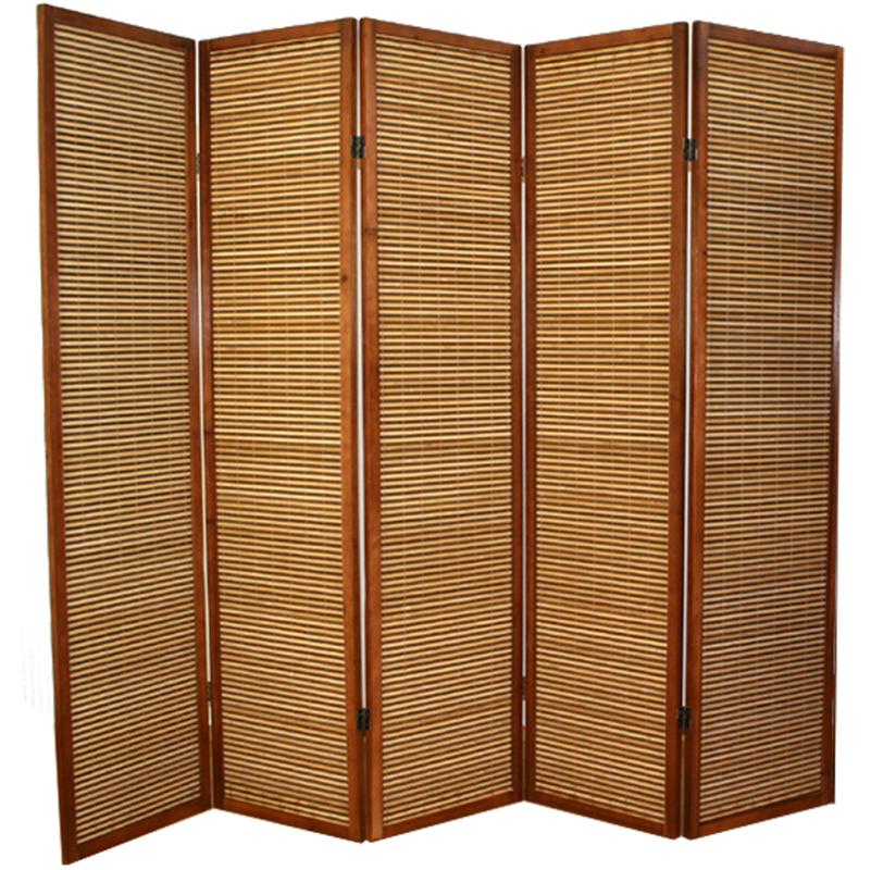 paravent bois et bambou brun 5 pans 1hs 383. Black Bedroom Furniture Sets. Home Design Ideas