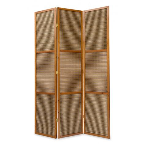 Paravent bois et bambou brun H 2 m - 3 pans