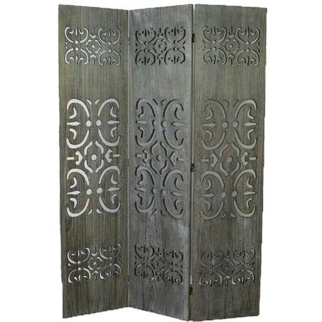 Paravent bois gris avec sculptures sur bois - 3 pans