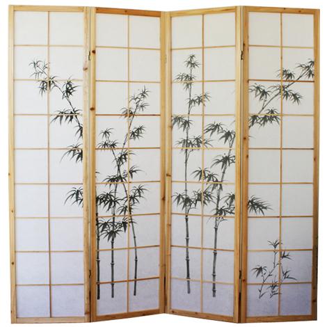 Paravent bois naturel avec dessin bambou noir - 4 pans