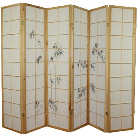 Paravent bois naturel avec dessin bambou noir - 6 pans