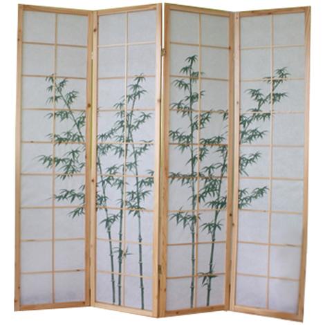 Paravent bois naturel avec dessin bambou vert - 4 pans