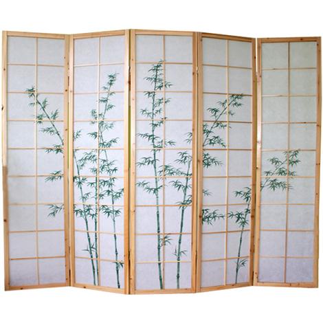 Paravent bois naturel avec dessin bambou vert - 5 pans