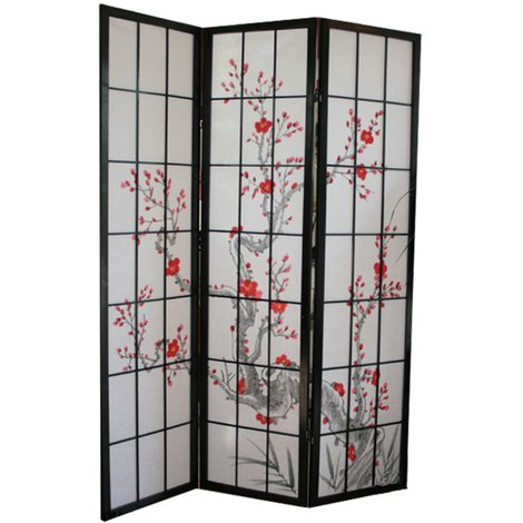 Paravent bois noir avec fleurs de cerisier - 3 pans