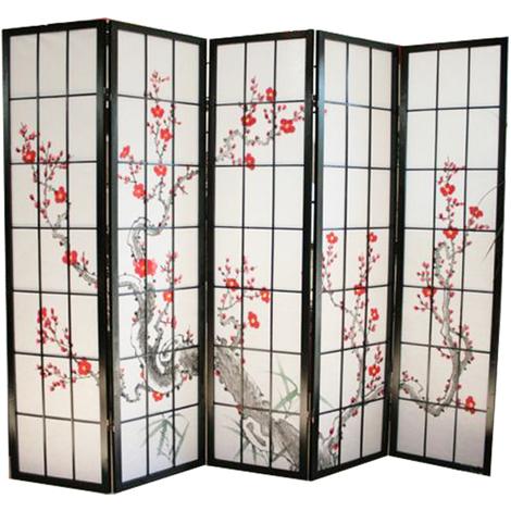 Paravent bois noir avec fleurs de cerisier - 5 pans