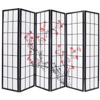Paravent bois noir avec fleurs de cerisier de 6 pans L264 x H176 x P2 cm