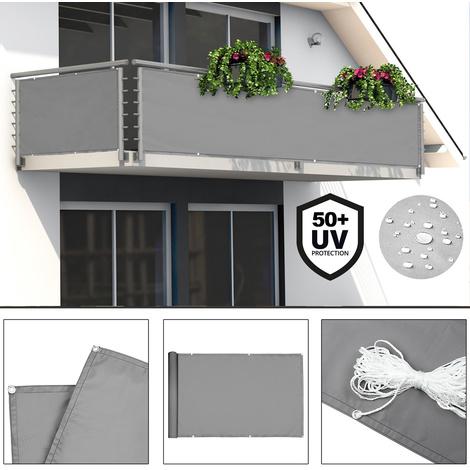 Vue de balcon Protection Revêtement Balcon Clôture Brise vent jardin 500x90cm Bleu-Blanc