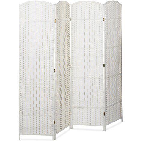 Paravent brise-vue cloison de séparation séparateur pièce 4 panneaux 180 cm bambou blanc - Blanc
