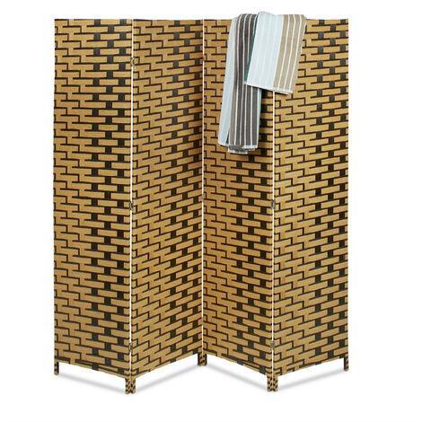 Paravent BYÖBU avec motifs effet tuile HxlxP: 179 x 180 x 2 cm en 4 pièces cloison séparateur de pièce panneaux brise-vue en bambou pliable, marron clair