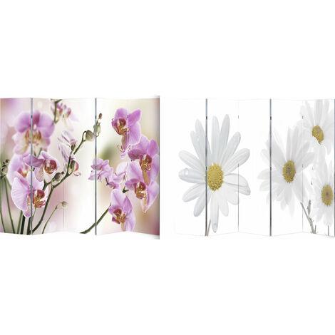 Paravent cloison pliable double face 5 pans 200 x 180 cm fleur