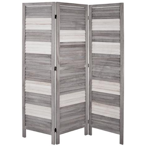 Paravent coloris gris-blanc - Dim : L 120 x P 6 x H 170 cm