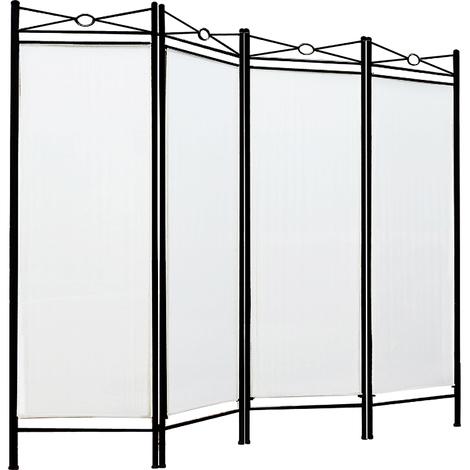 Paravent crème - 4 panneaux - Cadre en métal laqué - Cloison 180x163cm