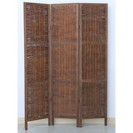 Paravent de 3 pans en bois et osier, coloris brun - Dim : H170 x L120cm