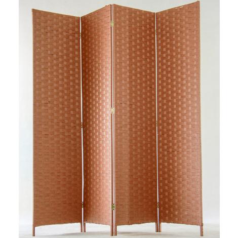 Paravent de 4 pans tressé en fibres naturelles coloris brun - Dim : H180 x L180 cm
