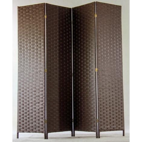 Paravent de 4 pans tressé en fibres naturelles coloris brun foncé - Dim : H180 x L180 cm