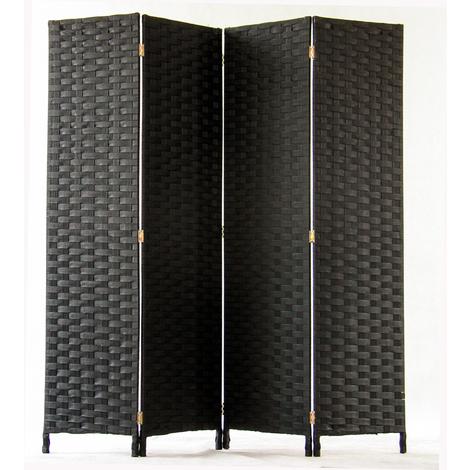 Paravent de 4 pans tressé en fibres synthètiques, coloris noir - Dim : H170 x L160cm