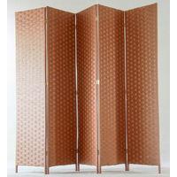 Paravent de 5 pans tressé en fibres naturelles coloris brun - Dim : H180 x L225 cm