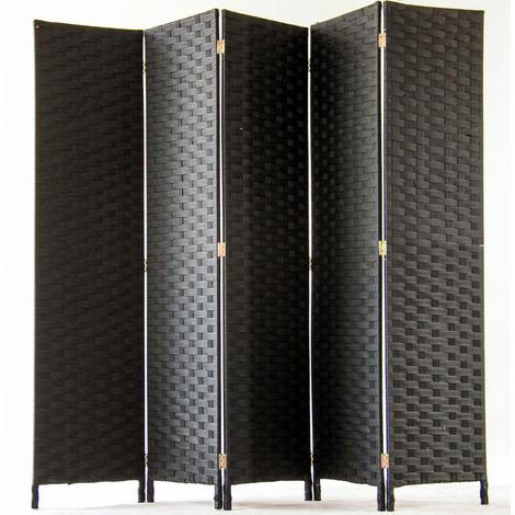 Paravent de 5 pans tressé en fibres naturelles coloris noir - Dim : H180 x L225 cm