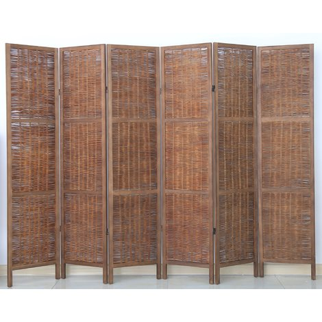 Paravent de 6 pans en bois et osier, coloris brun - Dim : H170 x L240cm
