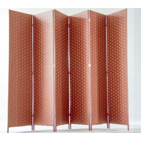 Paravent de 6 pans tressé en fibres naturelles coloris brun - Dim : H180 x L270 cm