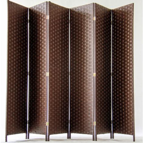 Paravent de 6 pans tressé en fibres naturelles coloris brun foncé - Dim : H180 x L270 cm
