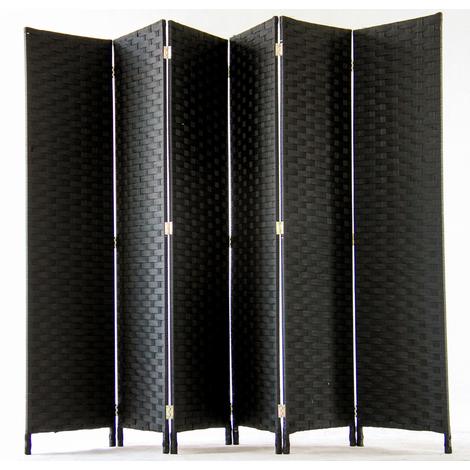 """main image of """"Paravent de 6 pans tressé en fibres naturelles coloris noir - Dim : H180 x L270 cm"""""""