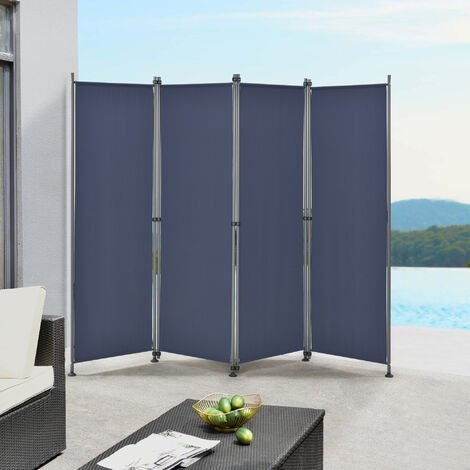 Paravent de Confidentialité Brise-Vue Séparateur à 4 Panneaux Résistant pour Extérieur Intérieur Acier Polyester 215 x 170 cm Bleu Foncé
