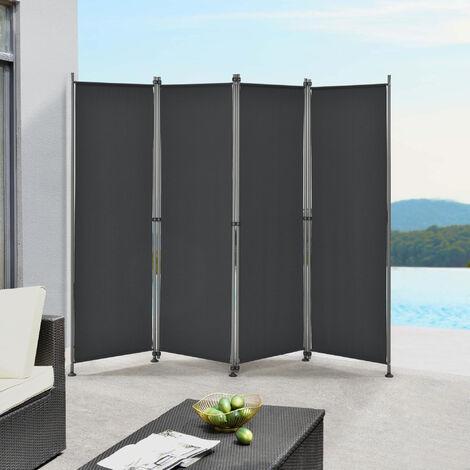 Paravent de Confidentialité Brise-Vue Séparateur à 4 Panneaux Résistant pour Extérieur Intérieur Acier Polyester 215 x 170 cm Noir