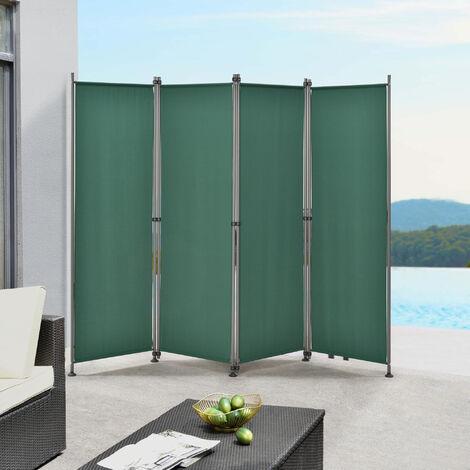 Paravent de Confidentialité Brise-Vue Séparateur à 4 Panneaux Résistant pour Extérieur Intérieur Acier Polyester 215 x 170 cm Vert Foncé