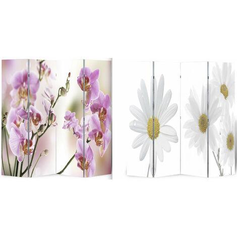 Paravent double face 4 pans 160 x 180 cm fleur