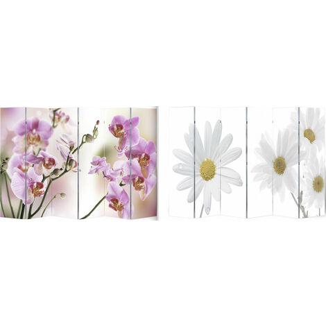Paravent double face 6 pans 240 x 180 cm fleur