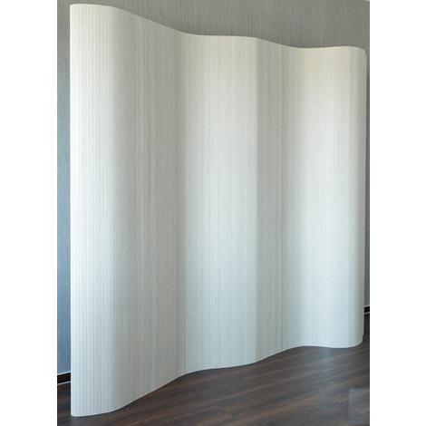Paravent en bambou coloris blanc lavé - Dim : 200 x 250 x 3 cm