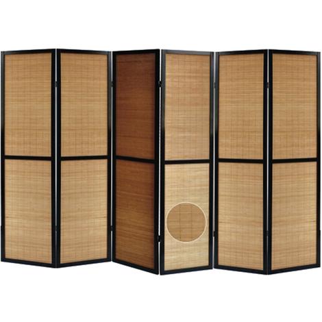 Paravent en bois noir et bambou de 6 pans