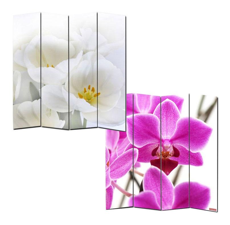 Paravent en toile motif Orchidée H 180 x L 160 cm - 4 pans - 16HEU-12939